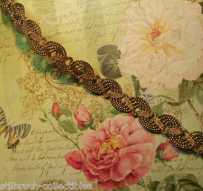 "Antique vintage weighty gold bronze metal braid lace trim lampshade 1/2"" g07"