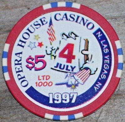 $5 Ltd 4Th Of July 1997 Gaming Chip From The Opera House Casino Las Vegas