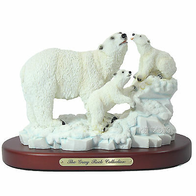 NEW The Gray Rock Collection Polar Bear+Cubs Wildlife Collectible Resin Figurine