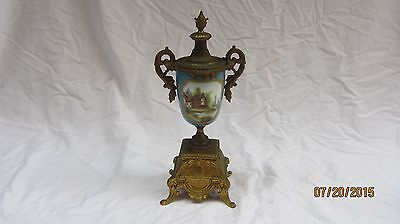 Magnificent 19C French Hand Painted Sevres Urn On Bronze Base