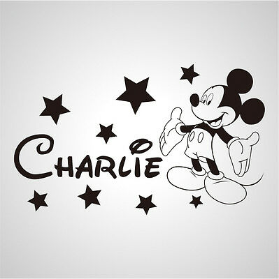 Wall Stickers custom baby name Mickey mouse stars vinyl decal decor Nursery kids