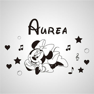 Wall Stickers custom baby name Minnie mouse music vinyl decal decor Nursery kids