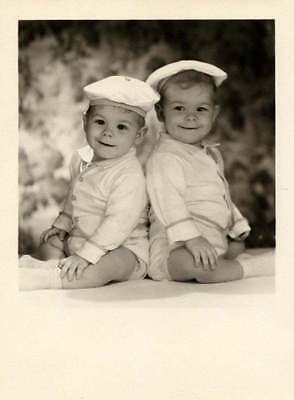 1950s 5x7 Vintage photo of Twins boys with hats on