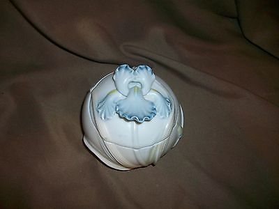 Vintage 1983 Fitz & Floyd Blue Bearded Iris Trinket Box