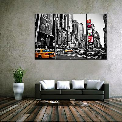 Large City Street Scene Unframed HD Canvas Print Wall Art Picture Split Poster