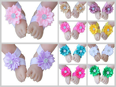 Handmade Baby Barefoot Sandals Daisy Flower Shoes Footwear Photo Prop Newborn