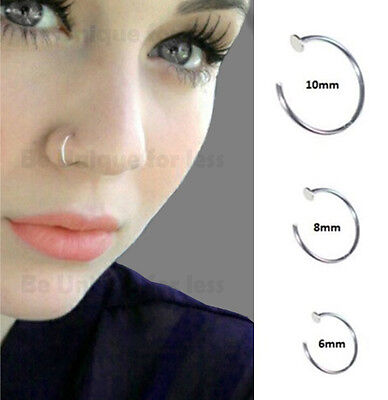 Sterling Silver 925 Thin Small Silver OPEN Nose Ring Hoop 0.6mm Piercing