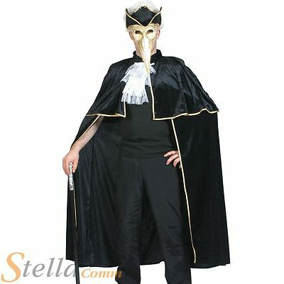Adult Black Venetian Cape Halloween Masquerade Highwayman Fancy Dress Costume