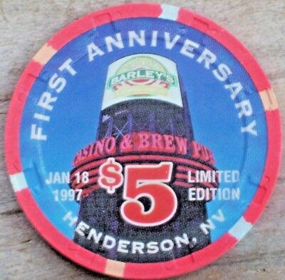 $5 1St Anniversary Casino Chip From Barley's Casino Henderson, Nv
