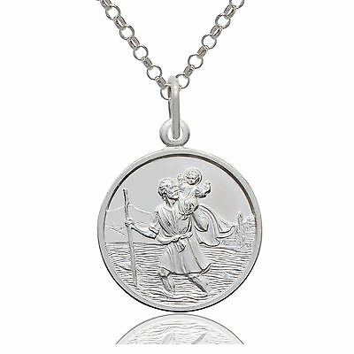 925 Sterling Silver Round Saint St Christopher Pendant & Chain Necklace OPTIONS