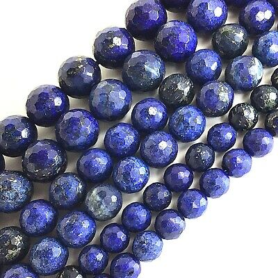 "Wholesale Natural Lapis lazuli Faceted Round Spacer Beads 15"" 3 4 6mm 8 10 12mm"