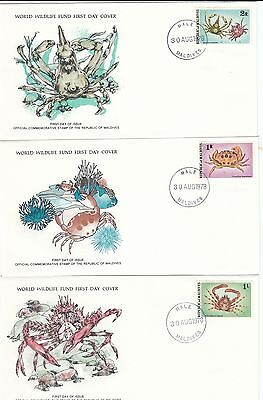 (44241) Maldives WWF FDC x3 Crabs - 30 August 1978