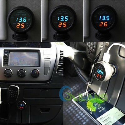 3in1 Digital LED Voltmeter Thermometer 2.1A USB Car Charger Battery Monitor 12V