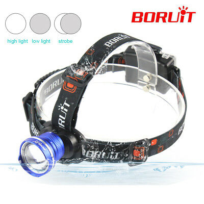 BORUIT 5000LM XM-L T6 LED Outdoor AA Zoomable Headlamp Headlight Head Torch Lamp