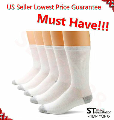 3-12 Pairs CREW Mens Solid Sports Socks Cotton 9-11 10-13 White Gray Black USA