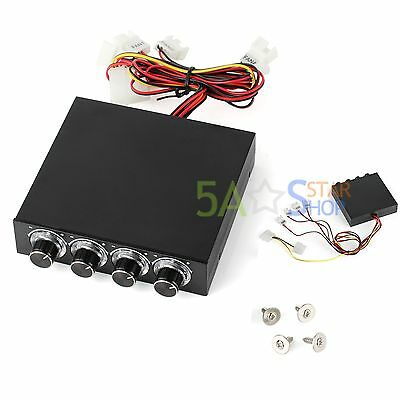 PC Computer Fan Speed Temperature Controller 4 Channel 4 Pin Cooling Connector