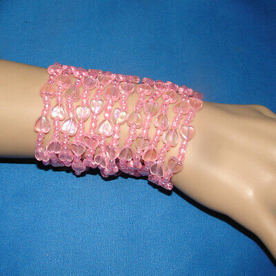 9pc GIRLS CRYSTAL LOOK ELASTICATED STRETCH PEARLESCENT HEART BEADED BRACELETS