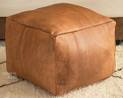 Square Handmade Moroccan Pouf Genuine Leather Ottoman Footstool Hassock  Tan