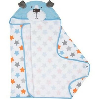 Gerber Baby Boys Blue/Orange Dog Hooded Terry Bath Wrap BABY CLOTHES SHOWER GIFT
