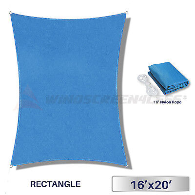 16' x 20' Rectangle Sun Shade Sail Fabric Outdoor Canopy Patio Pool Awning Cover
