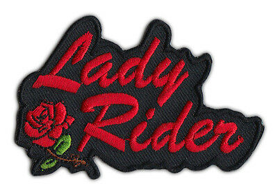 Motorcycle Jacket Embroidered Patch - Lady Rider w/Red Rose - Female, Lady Biker