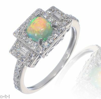 Princess Cushion Promise Engagement Green Fire Opal CZ Sterling Silver Ring
