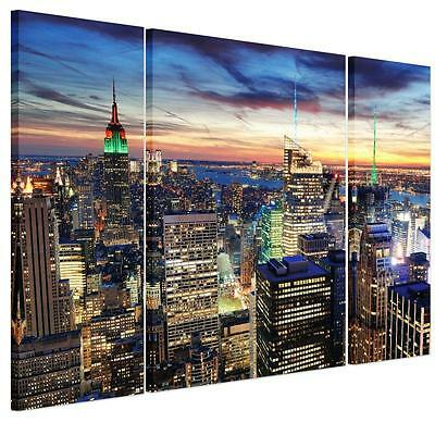 Large Colorful City Night Unframed HD Canvas Print Wall Art Picture Split Poster