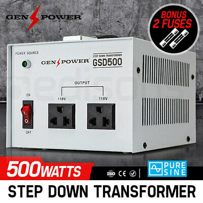 500W Genpower Step Down Transformer 240V-110 Stepdown Voltage Converter Au-Us