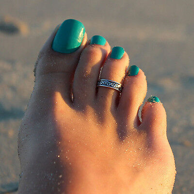 Celebrity Women Lady Fashion Simple Retro Toe Ring Adjustable Foot Beach Jewelry