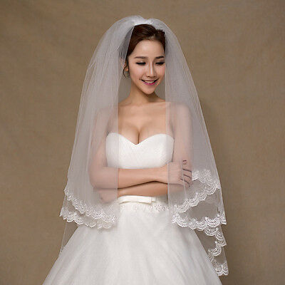 Elegant White Elbow Tulle Lace Edge 2 Layers Bridal Veil Wedding Veil With Comb