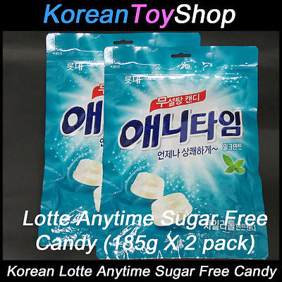 Korean Lotte Anytime Candy 185g X 2 Packs Sugar Free Milk Mint Flavor w Xylitol