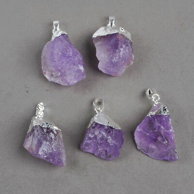 5Pcs/Lot Wholesale Rough Natural Amethyst Pendant Silver Plated FREE Ship BS0065
