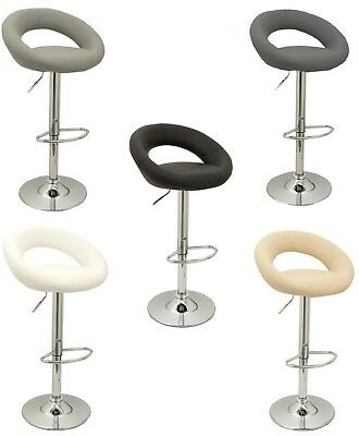 2x Eclipse Chrome & Gas Lift Swivel Faux Leather Kitchen Breakfast Bar Stool