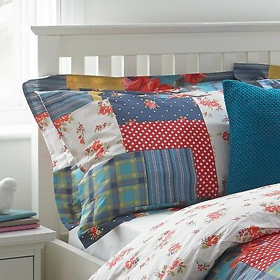 Paoletti Rosie Red Floral Patchwork Cotton Oxford Pillowcase Pillow Case 200 TC
