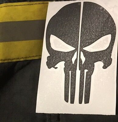 Punisher Skull Reflective Fire Helmet Decals Fire Helmet Sticker - Black