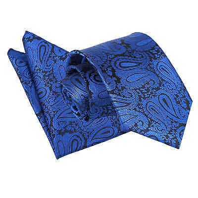 New Dqt High Quality Paisley Royal Blue Men's / Skinny Tie + Accessories