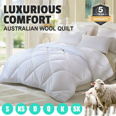 All Size 100% Australian Wool Quilt Doona Duvet Blanket Winter - 700GSM