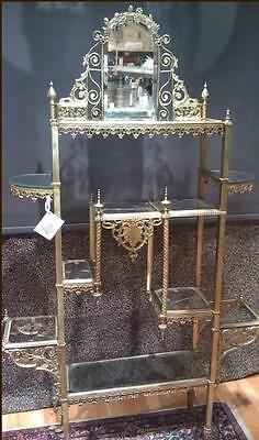 Ornate Victorian Brass  Etagere with Glass Shelves, Rare