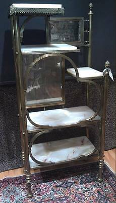 VICTORIAN Brass, Mirror and  Marble Etagere- Unusual and beautiful piece