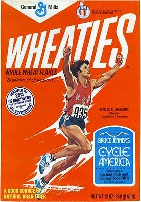 1970s BRUCE JENNER Wheaties cereal box Olympics win fridge magnet - new!