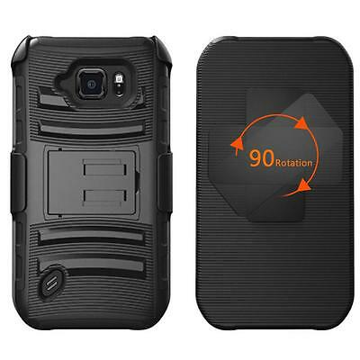 For Samsung Galaxy S6 Active Case Cover Advanced Impact Hard Box Belt Clip Black