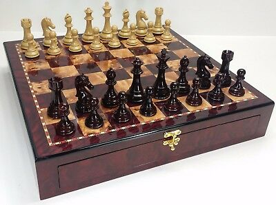 "Large Staunton High Gloss Chess Set W 4 1/4"" King 20"" Cherry Color Storage Board"
