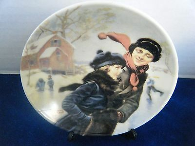"Norman Rockwell's ""Couple Ice Skating"" Mini 4"" Collector Plate"