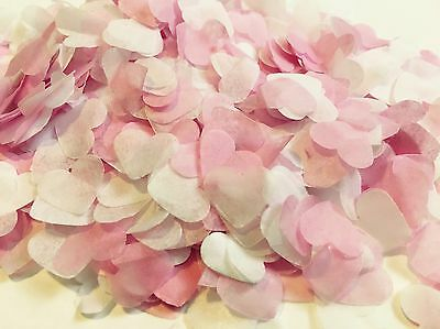 Pink & white heart wedding confetti - party table decorations - biodegradable
