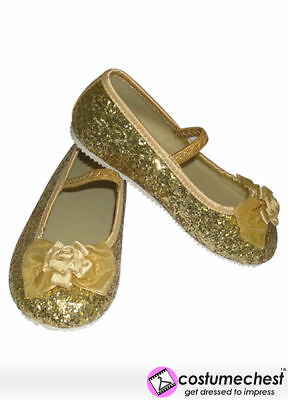 EU 25-26 Gold  Glitter Sparkle Girls Party Dress Costume Fairy Shoes Travis