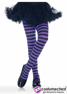 Childrens 7-10 years Girls Black And Purple Striped Tights by Leg Avenue