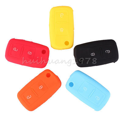 Silicone Case for VW Golf Passat Polo Jetta Key Fob Shell Cover 2 Button Remote
