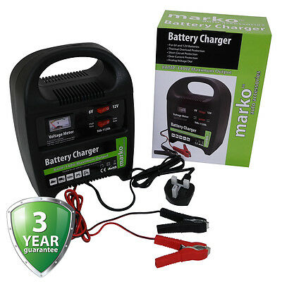 8AMP 6V/12V Heavy Duty Vehicle Battery Charger Car Van Compact Portable Electric