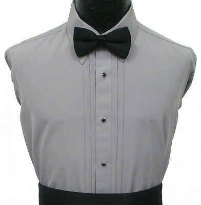 Grey Laydown Collar Pleated Tuxedo Dress Shirt Prom Halloween Costume Cosplay