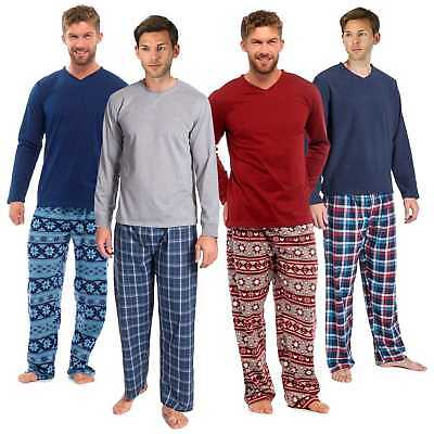 Mens Warm Fleece Jersey Winter PJ Pyjama Set Night Wear PJ's Pyjamas Sets New